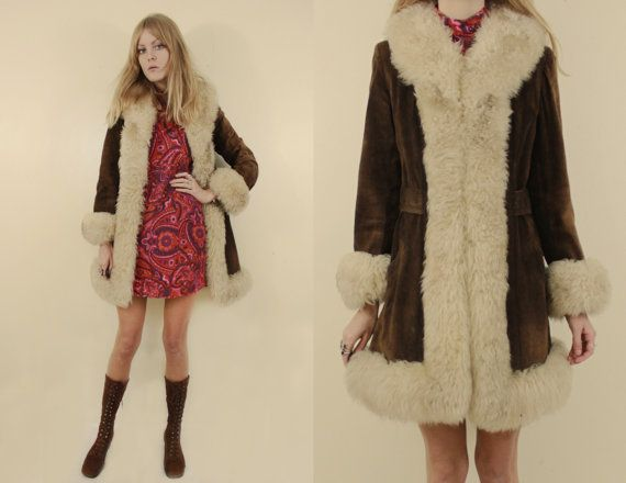 70s funky multi colour faux fur brown coat S6qnBf