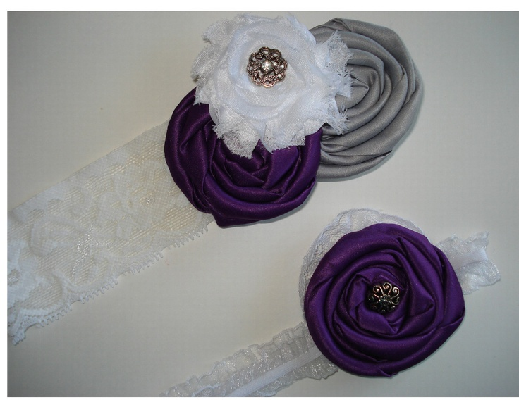 Wedding Garter set in plum purple and gray by GartersOfEden, $30.00