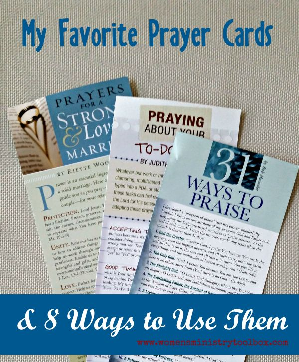 My favorite prayer cards, where you can get them, and how to use them! You'll want to use these for your next retreat, in your church prayer room, and as a teaching aid. From Women's Ministry Toolbox.