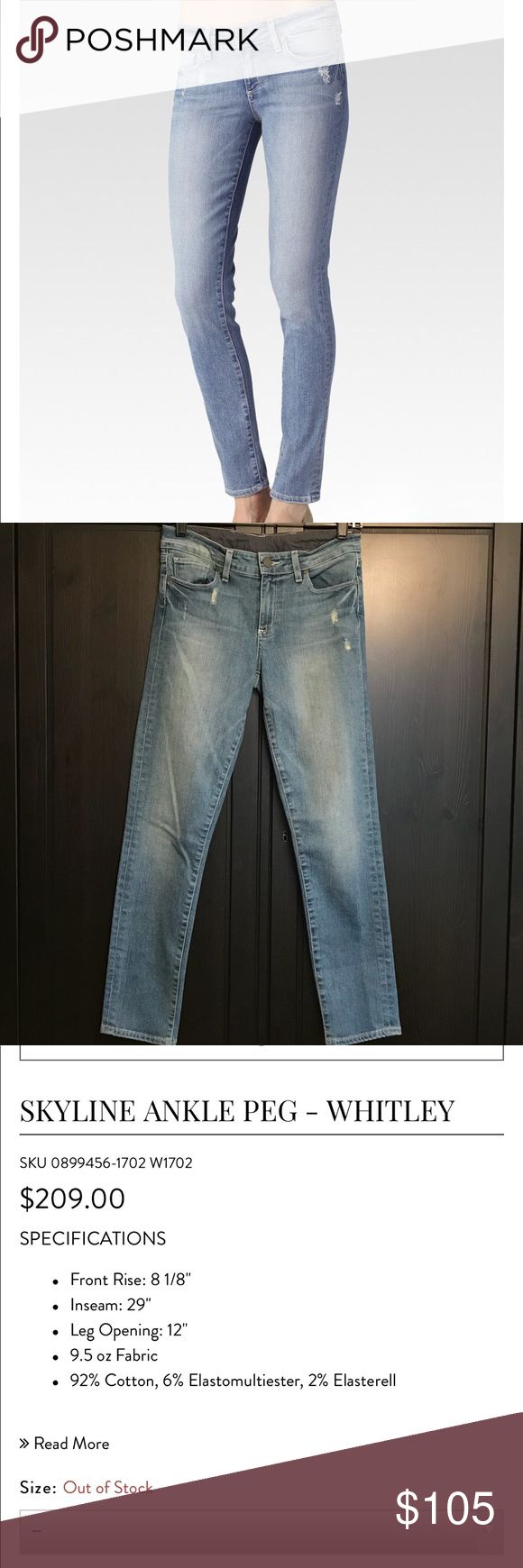 PAIGE Skyline Ankle Peg Jeans- Whitley PAIGE Skyline Ankle Peg Jeans- Whitley. Only worn a couple of times and in excellent condition. Size 28. PAIGE Jeans Ankle & Cropped