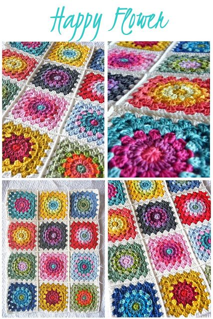 Annie's Place: Happy Flower Block Tutorial....great free tute and free pattern! These squares make a beautiful blanket; and you can use all the color you want!