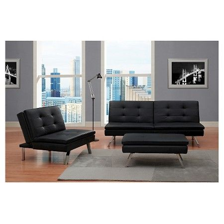 Chelsea Faux Leather Futon Sofa Bed Black - Dorel Home Product : Target