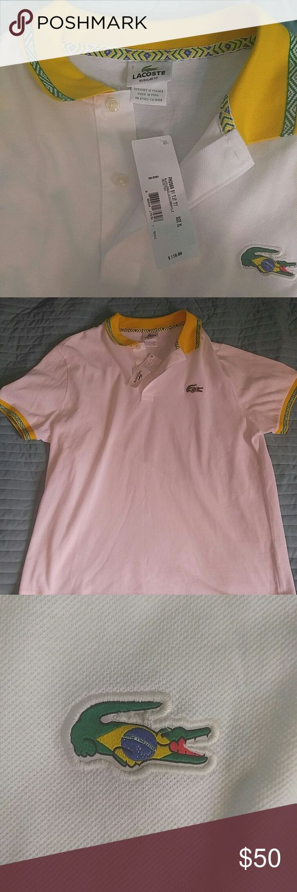 Lacoste Brazil polo shirt Sz 7 (XL) This is a rare item which is being sold new with the tags still attached. The price on this shirt is $110 and although it is new with tags I am willing to let it go to a good owner for less than half that! Features super stylish collar and piping design and Brazilian flag gator logo on the chest. Fantastic, head-turning addition to your spring or summer wardrobe! Lacoste Shirts Polos
