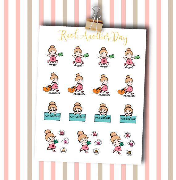 MISU Payday & Spending it All on Shopping by KnotAnotherDay #plannersticker #cute #payday #MISU