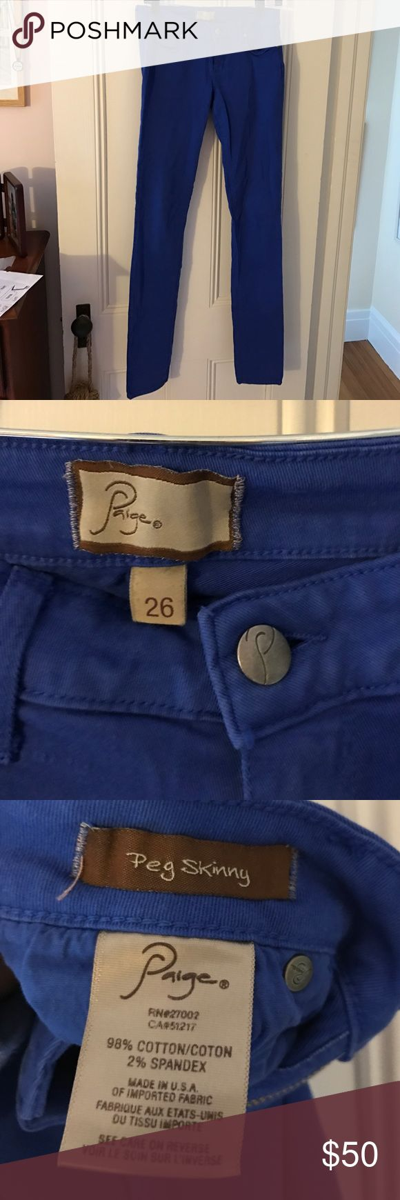 Paige Peg Skinny Bright Blue Jeans Beautiful cobalt blue color, stretch denim, barely worn Paige Jeans Jeans Skinny