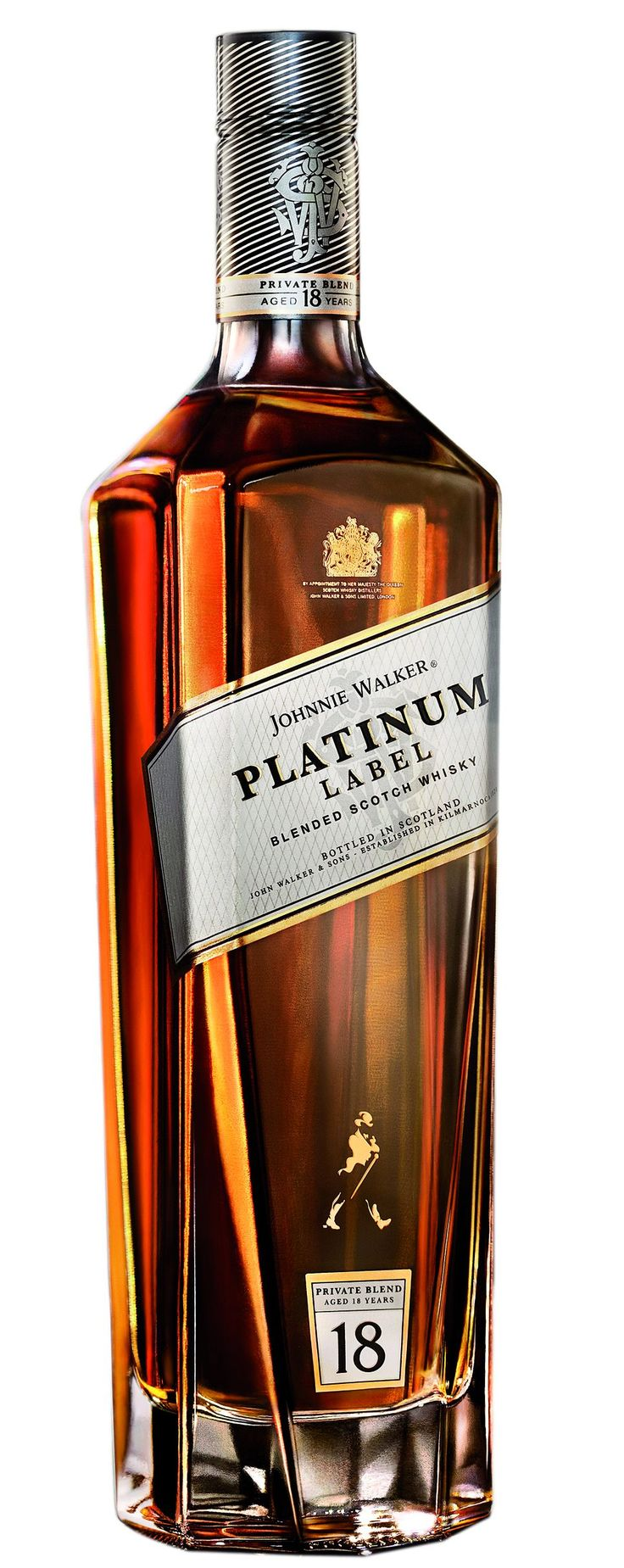 Johnnie Walker Platinum Label. Tasting Note: Sweet rich and deep notes with maraschino cherries, toffee caramel, vanilla, baked rhubarb crumble and a very thin whiff of smoke.  Photo: kosherwinecellar.co.uk