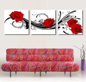 Amazon: Frameless painting red rose flower canvas modern art of three pieces.