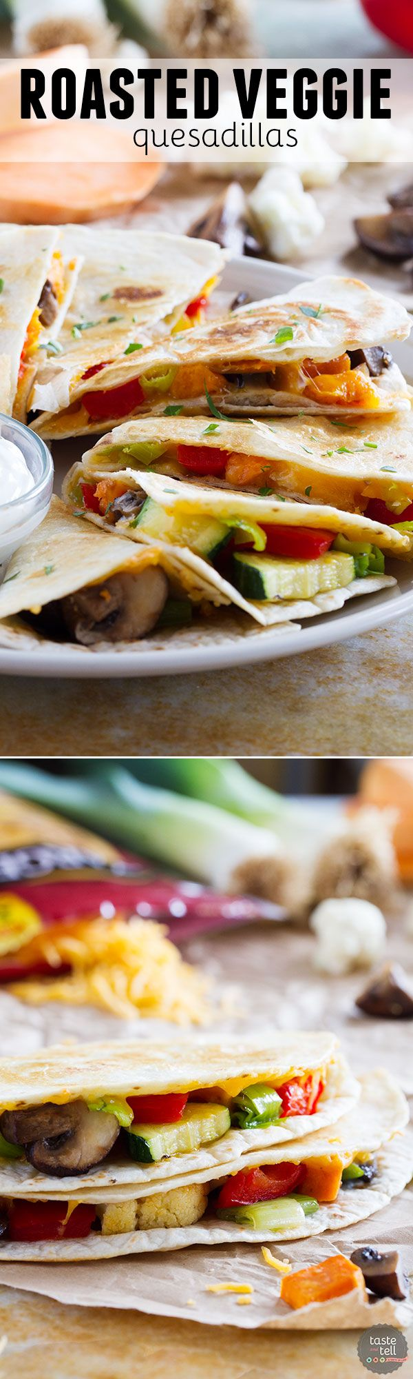 A great way to get your veggies in, these Roasted Veggie Quesadillas are a great way to clean out the veggie drawer to make a lunch or dinner that won't leave you missing the meat!