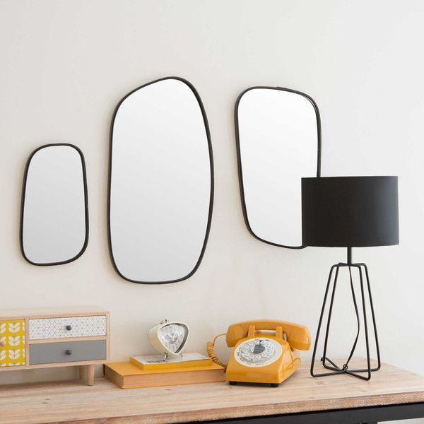 Miroir en métal noir H 28 cm DOMINO                                                                                                                                                                                 Plus