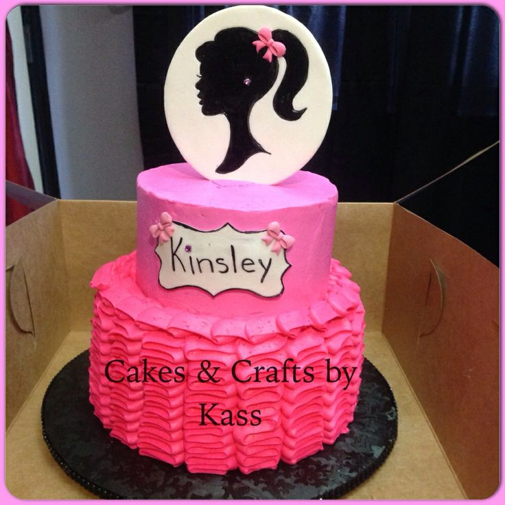 Gorgeous Barbie Silhouette Cake The Bottom Tier Is A Pink