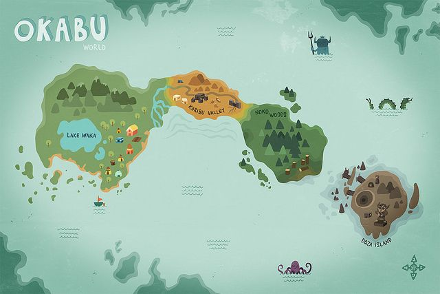 world of okabu (map illustration for the psn game okabu) | Illustrator:     Mikko Walamies - http://cargocollective.com/mikkowalamies