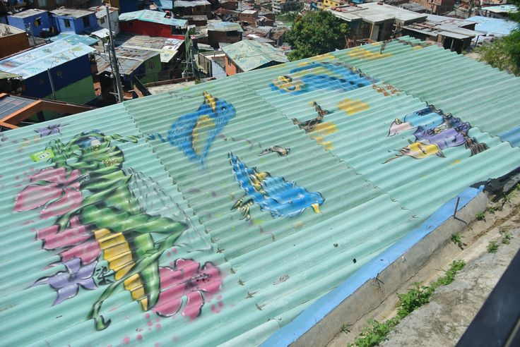 Painted roof in Comuna 13, Medellín, Colombia