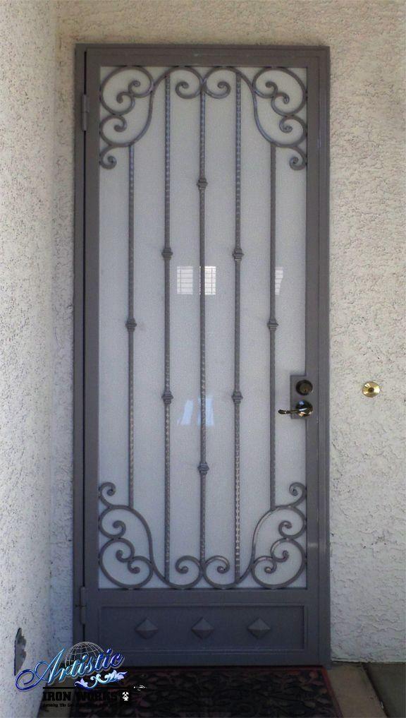Wrought Iron Security Screen Door With Scrolls And A Kickplate 1000 In 2020 Security Screen Door Screen Door Wrought Iron Security Doors