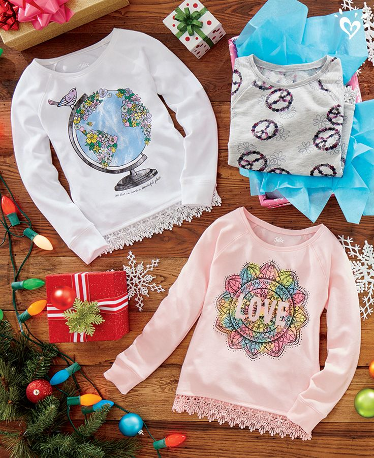 Dreamy-soft sweatshirts + cool crochet details = awesome gifts!