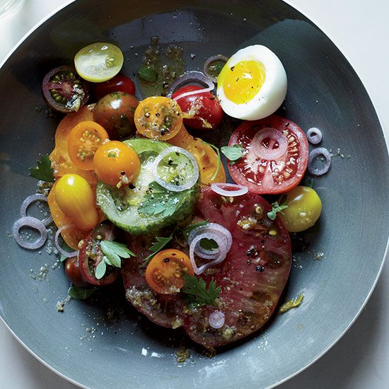 Heirloom Tomato Salad with Anchovy Vinaigrette // More Wonderful Summer Salads: http://www.foodandwine.com/slideshows/summer-salads #foodandwine