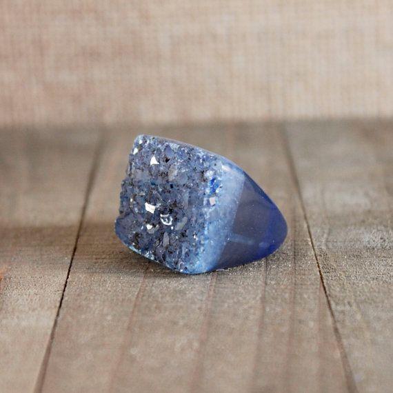DRUZY RING/// Size 7 Navy Blue Quartz Druzy Stone by EwelinaPas
