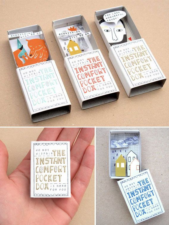 matchbox--Instant Comfort Pocket Box. I wonder if we could do a similar project with favorite quotes and art or magazine photos, etc.