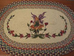 GARDEN FAIRY PIXIE REVERSIBLE BRAIDED OVAL RUG HAND PAINTED NEW WITH TAGS