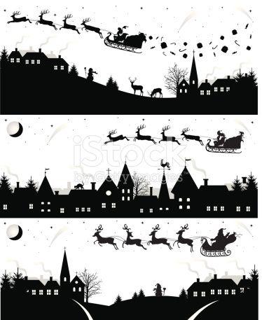 Set of christmas silhouettes.