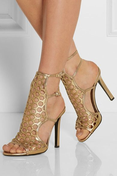 Chic Gold Cutout Metallic Leather High Heel Sandals | You can find this at => http://feedproxy.google.com/~r/amazingoutfits/~3/OE2hdaXQriQ/photo.php