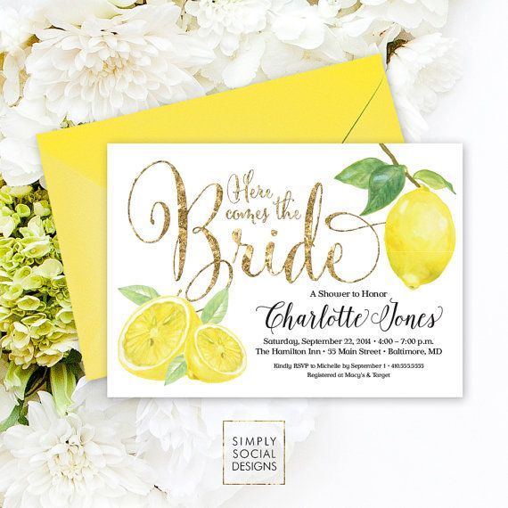 Lemon Bridal Shower Invitation - Fresh Lemon and Faux Gold Glitter Invitation Printable Italian Bridal Shower Fresh Squeezed Lemonade