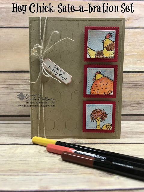 Just Sponge It: Hey Chick, Hey Chick stamp set, Watercolor Pencils & Paper, Aqua Painter, Stitched Shapes Framelits, Layering Squares Framelits, Dynamic Embossing Folder, Bunch of Banners Framelits, Stampin' Up!, DIY