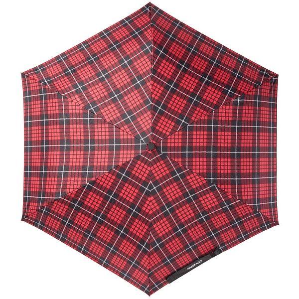 Steve Madden Tartan Plaid Folding Umbrella ($15) ❤ liked on Polyvore featuring accessories, umbrellas, red, plaid umbrella, red umbrella, folding umbrella, steve madden and wind resistant umbrella