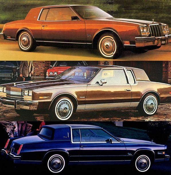 1980 General Motors E-Bodies (From top to bottom: Buick Riviera, Oldsmobile Toronado, Cadillac Eldorado)