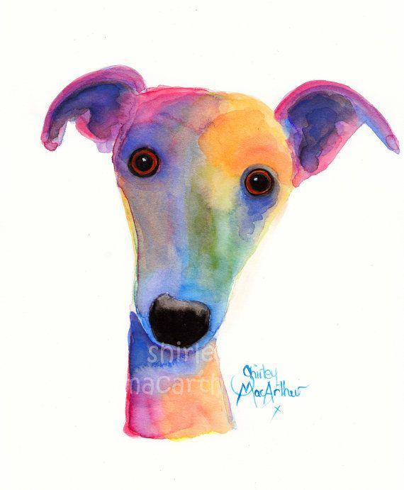 Descarado/Linda impresión en 3 tamaños de pintura Original de acuarela Perro lebrela Whippet Lurcher