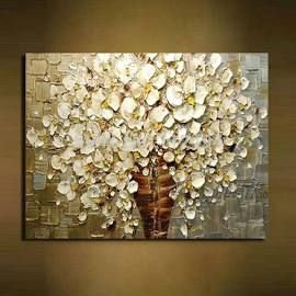 100% handpainted white flowers modern abstract knife oil paintings ...