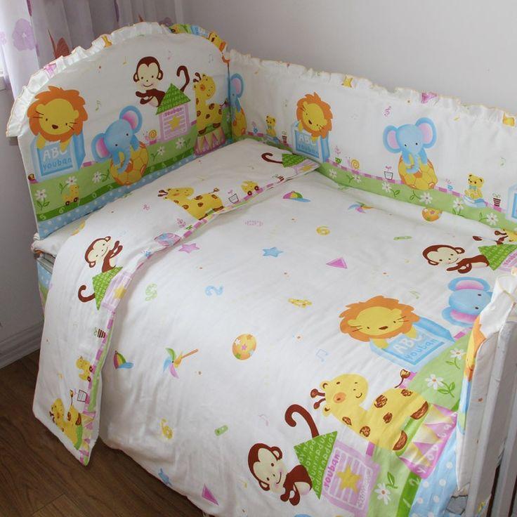 Aussiebuby Baby Bedding Crib Cot Sets 9 Piece Fun Safari Animals Theme Brand New Rrp