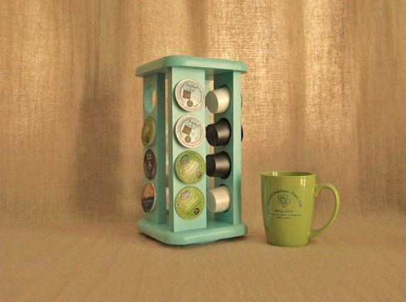 This cool, revolving spice rack has been painted Nautical (Aqua) and given several coats of sealer for durability and ease of clean-up. It
