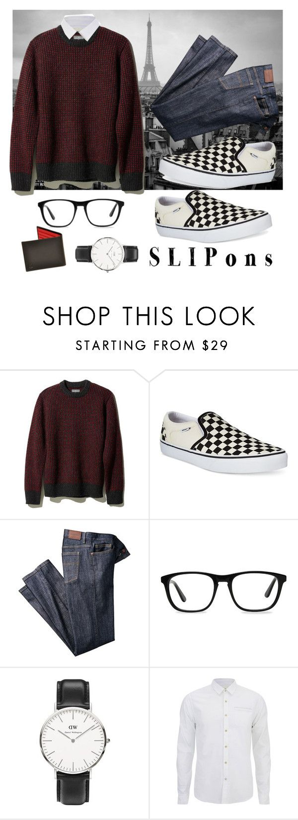 """Checkered Slip-ons"" by galaxyrewind ❤ liked on Polyvore featuring L.L.Bean, Vans, Ace, Daniel Wellington, Scotch & Soda, men's fashion, menswear and slipons"