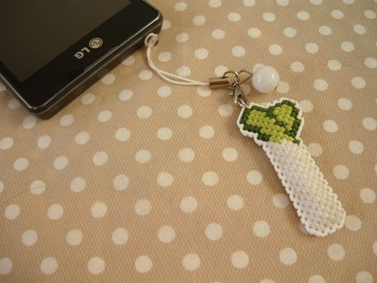 Cross stitch phone charm, gift for teens, cute keychain, kawaii charm, cute phone dangle, Cute Bag Charm, Dust Plug, Earphone Plug by MariAnnieArt on Etsy