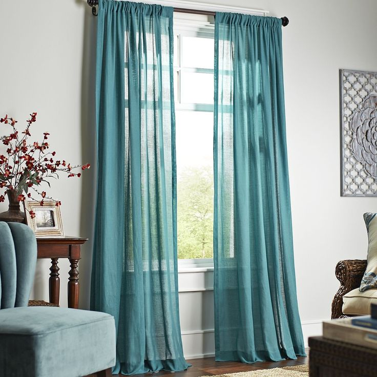 Quinn Sheer Curtain - Teal | Pier 1 Imports
