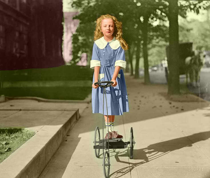 """Shorpy Historical Photo Archive: """"Treadle Power."""" Mary Dixon Palmer in Washington. Daughter of the attorney general. (Colorized Photo) 1920."""
