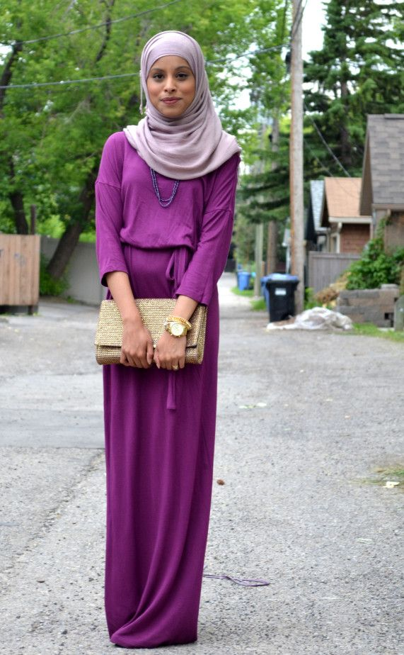 Statement purple maxi dress paired with neutral toned gold toned accessories hijab style fashion