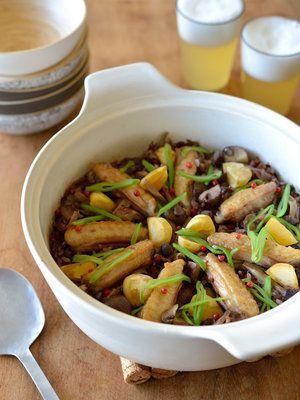 【ELLE gourmet】土鍋で作る! チキンと栗の黒米パエリア