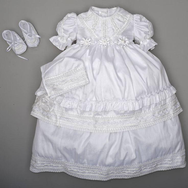 Christening Gown Girl Burbvus G014 Ivory or White | 100% Silk | Baptism Dress for Girls | Gown | Unique Design & Handmade | Christening gift by Burbvus on Etsy