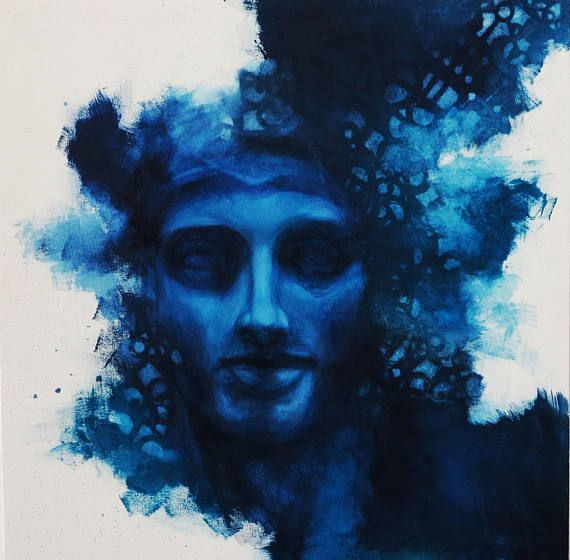 MARS // oil painting on canvas  TITLE: MARTE (MARS) MEDIUM: OIL ON CANVAS SIZE: 70X70 cm ( 27x27 inch) This blue original painting of a man it was inspired by ancient classic greek sculpture of Mars. I tranform the subject into a psychological portrait of my emotion. DEEP BLUE like the
