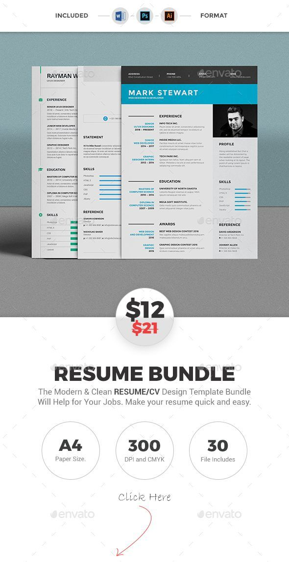 3 Different style modern #resume template, these Clean Resume