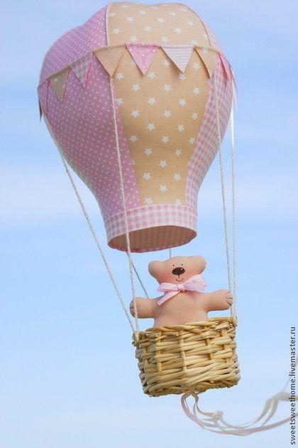 Полетели) - бежевый,розовый,нежно-розовый,пастельные тона,воздушный шар