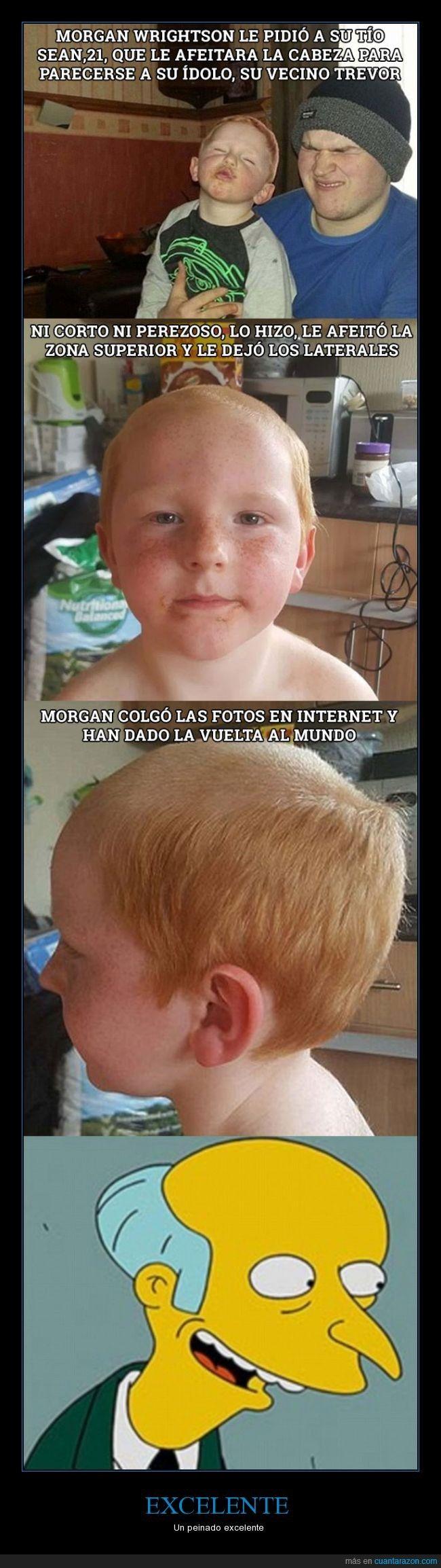 Niño de 5 años pide un peinado que le hace parecerse al Sr Burns - Un peinado excelente   Gracias a http://www.cuantarazon.com/   Si quieres leer la noticia completa visita: http://www.estoy-aburrido.com/nino-de-5-anos-pide-un-peinado-que-le-hace-parecerse-al-sr-burns-un-peinado-excelente/
