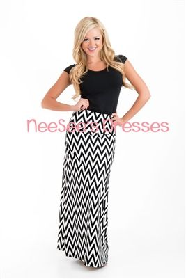 Black & White Thin Chevron Maxi, Maxi Dress, Modest Dresses, Church Dresses, modest, modest clothing, maxi skirt, trendy, trendy skirt, tren...