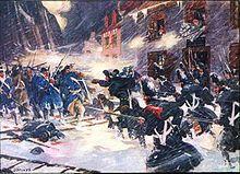 British soldiers and Provincial militiamen repulse the American assault at Sault-au-Matelot, Canada, December 1775