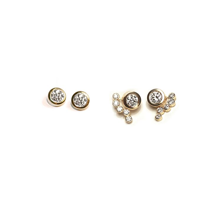 Diamond earrings: With these earrings, it's up to the wearer to choose between the classic golden bofb ear buttons, or the more festive pendants. Design by Bertie Hamers for bofb®.