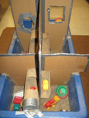 Add different sections and levels to sand box to encourage different ways of interacting and exploring.