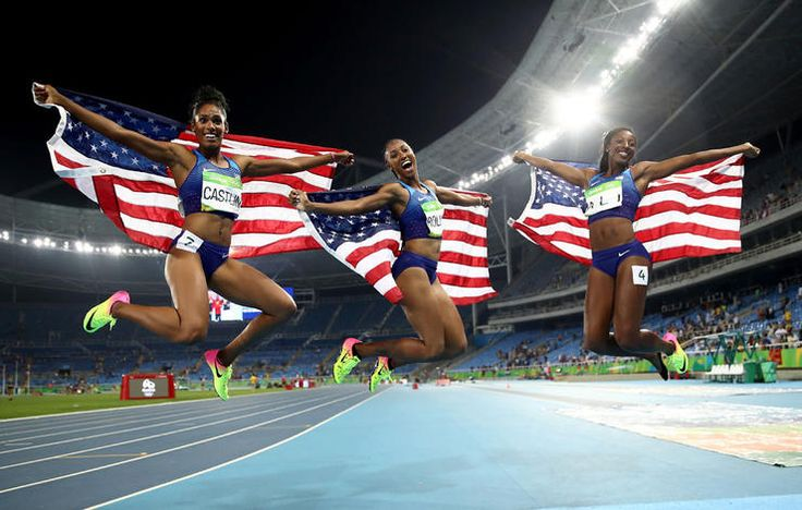 """soph-okonedo: """" Bronze medalist Kristi Castlin, gold medalist Brianna Rollins and silver medalist Nia Ali of the United States celebrate with American flags after the Women's Hurdles Final on Day 12 of the Rio 2016 Olympic Games at the Olympic. Nbc Olympics, Rio Olympics 2016, Summer Olympics, Tokyo Olympics, Katie Ledecky, Brianna Rollins, 100m Hurdles, Oufits Casual, Sports"""