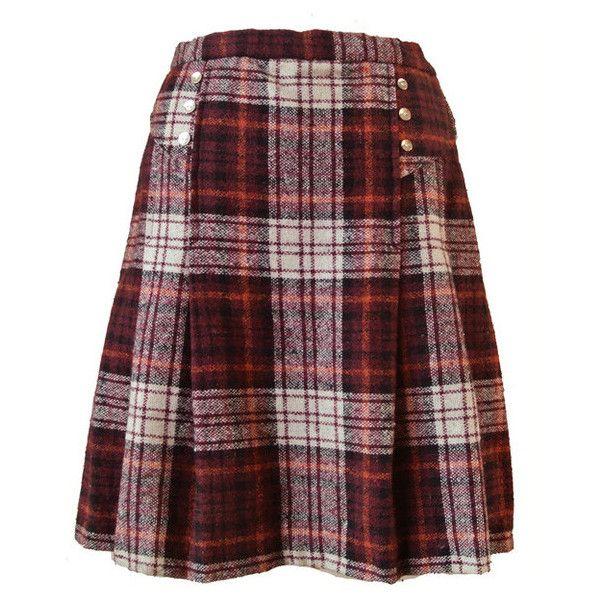 Tartan plaid wool 1960s mod mini skirt (£25) ❤ liked on Polyvore featuring skirts, mini skirts, short pleated skirt, plaid pleated skirt, long pleated skirt, mini skirt and wool mini skirt