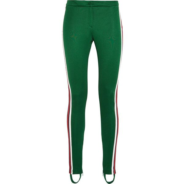 Gucci Striped jersey leggings (31,000 DOP) ❤ liked on Polyvore featuring pants, leggings, dark green, stripe pants, multi colored leggings, retro jerseys, dark green pants and multicolor leggings